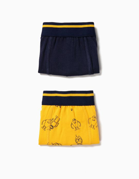 Pack 2 Boxers para Menino 'Robots', Azul e Amarelo