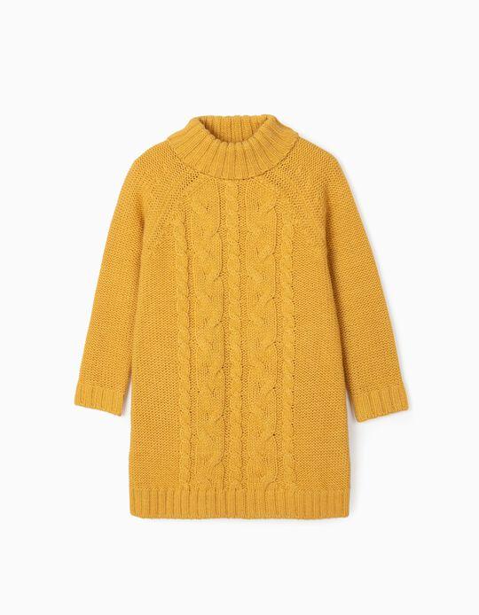 Knitted Dress for Girls, Dark Yellow
