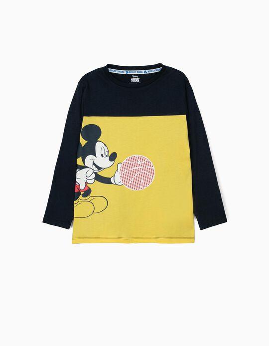 T-shirt Manga Comprida para Menino 'Mickey Basketball', Amarela e Azul