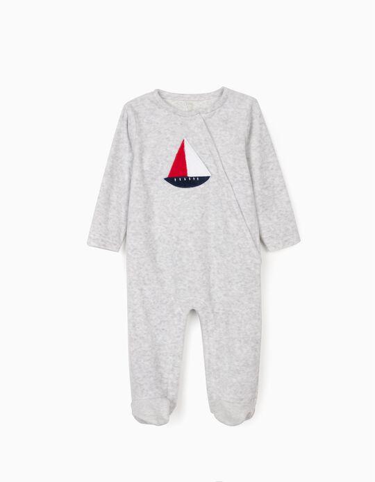 Velour Sleepsuit for Baby Boys 'Boat', Grey