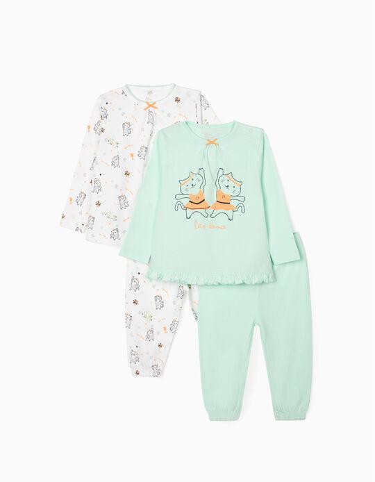 4-Pieces Pyjamas for Baby Girls 'Let's Dance', Aqua Green/White