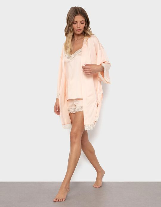 Sateen Kimono Dressing Gown for Women