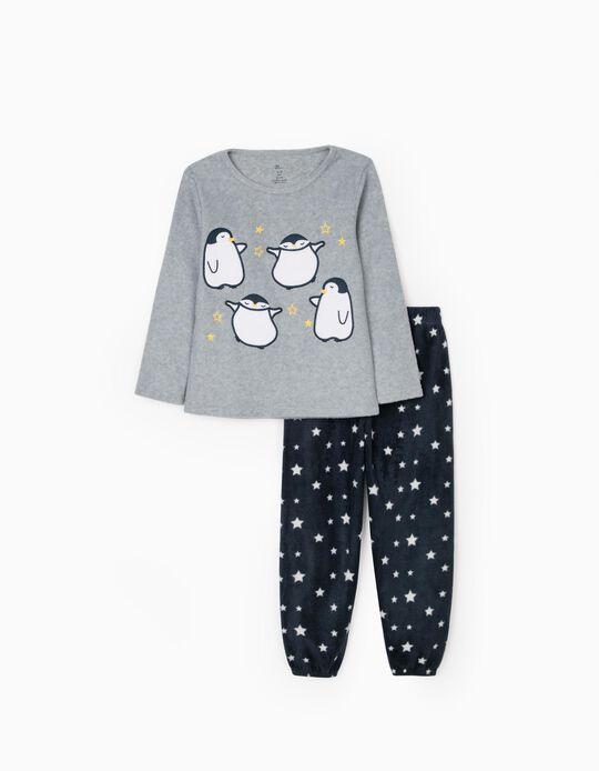 Polar Pyjamas for Girls 'Dancing Penguin', Grey/Dark Blue