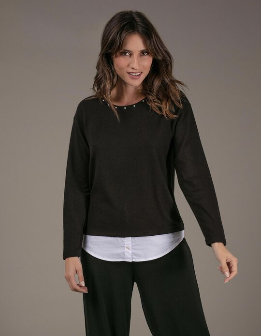 Jumper with applied collar