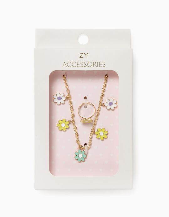 Necklace + Ring for Girls 'Flowers', Golden