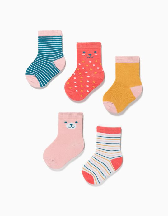 5 Pairs of Socks for Baby Girls, 'Dots & Stripes', Multicoloured