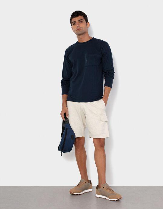 Fleece Shorts for Men, Beige