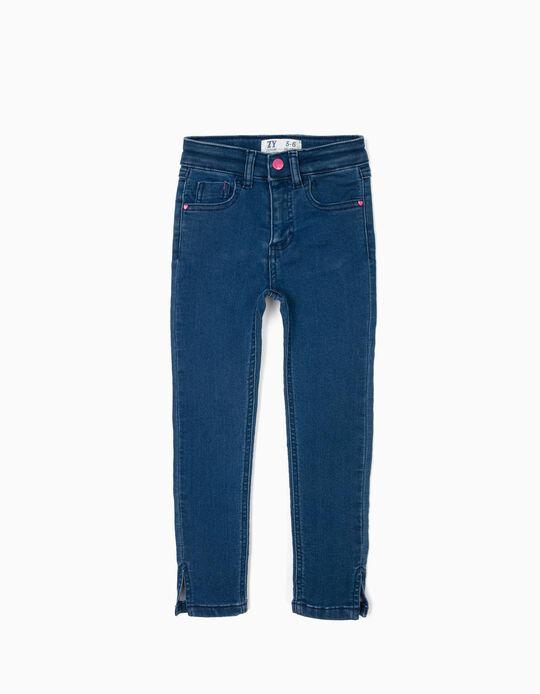 Calças de Ganga Skinny para Menina 'Be Nice', Azul
