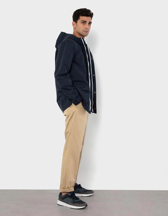 Slim Leg Twill Trousers, Men, Beige