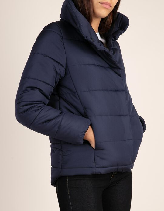 Short quilted jacket with collar