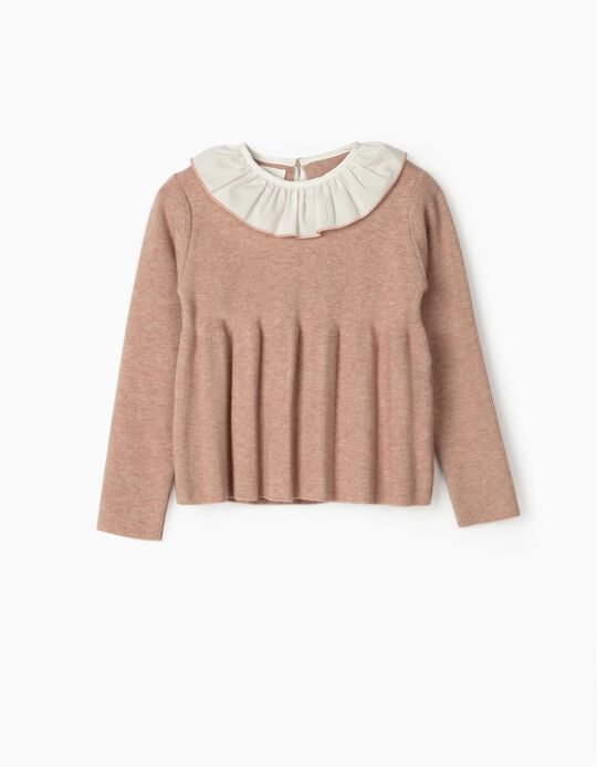 Knit Jumper with Ruffles for Girls, Pink