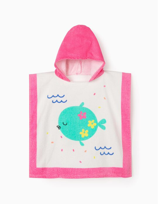 Beach Poncho for Girls, 'Fish', White/Pink