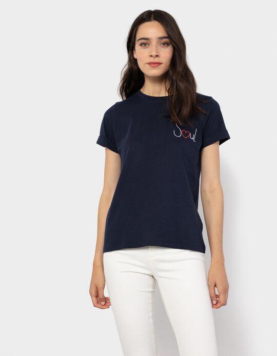 T-shirt com Bordado, Mulher, Azul Escuro