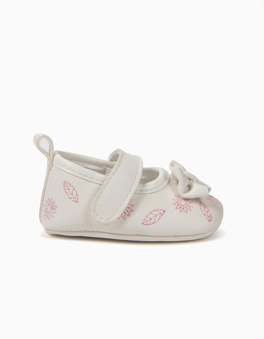 Ballerinas for Newborn Girls with Embroideries, White