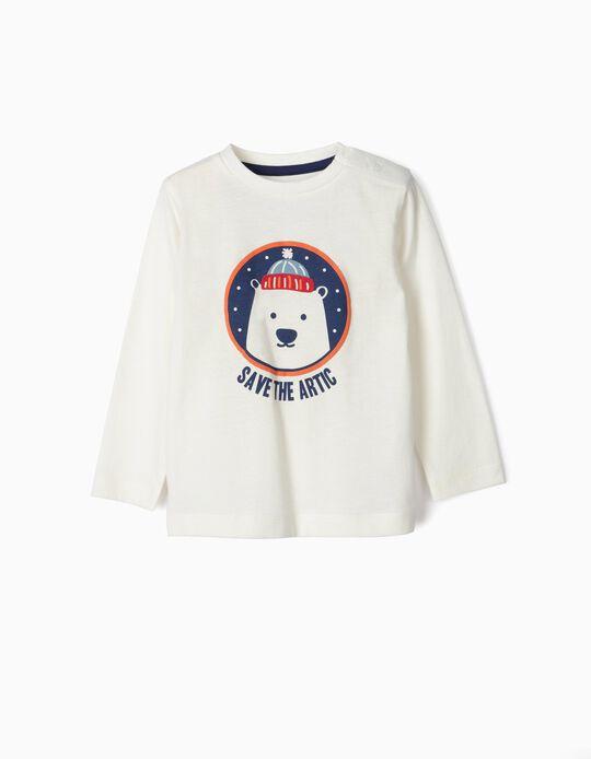 T-shirt Manga Comprida para Bebé Menino 'Save the Artic', Branco