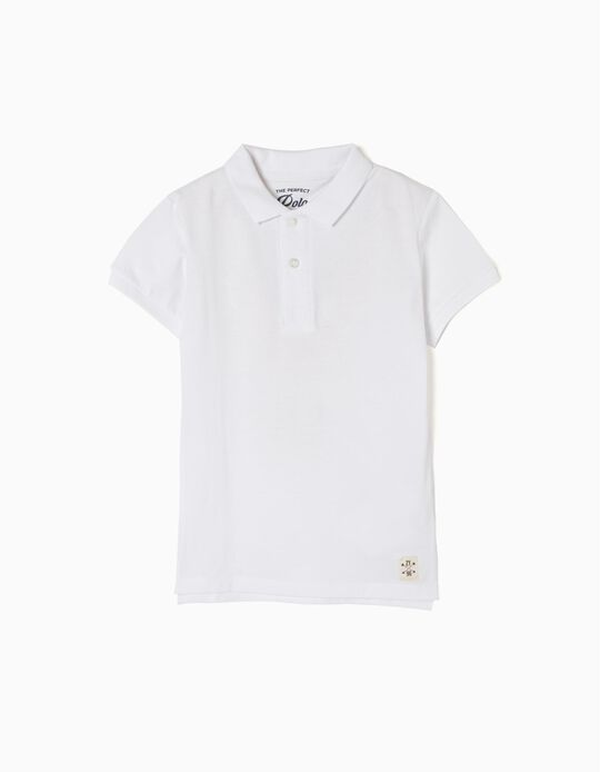 Short-Sleeved Polo Shirt for Boys, White