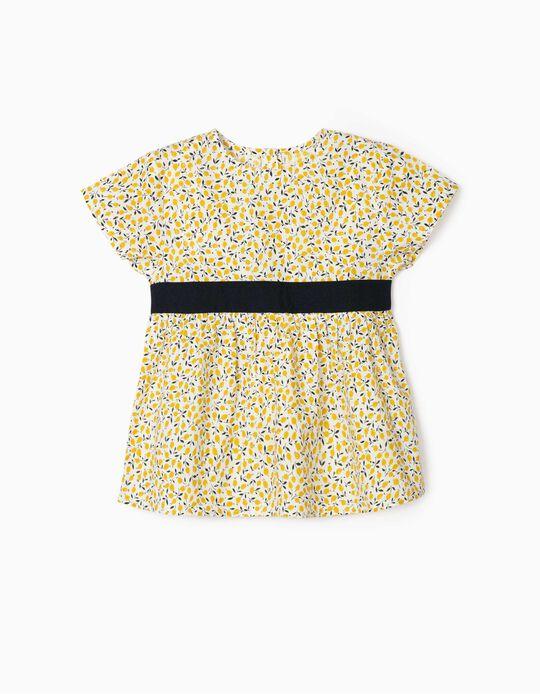 Blouse for Girls, 'Lemons', White/Yellow/Blue
