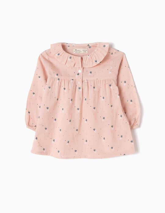 Pink Loose-Fitting Blouse, Little Flowers