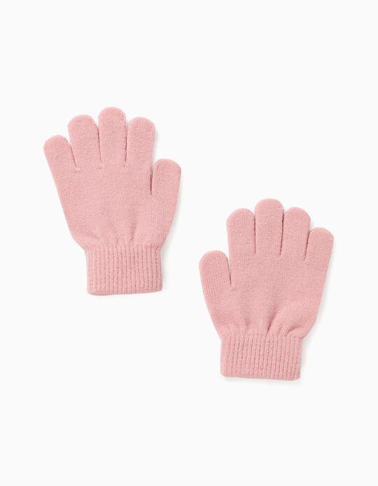 Knit Gloves for Girls, Pink