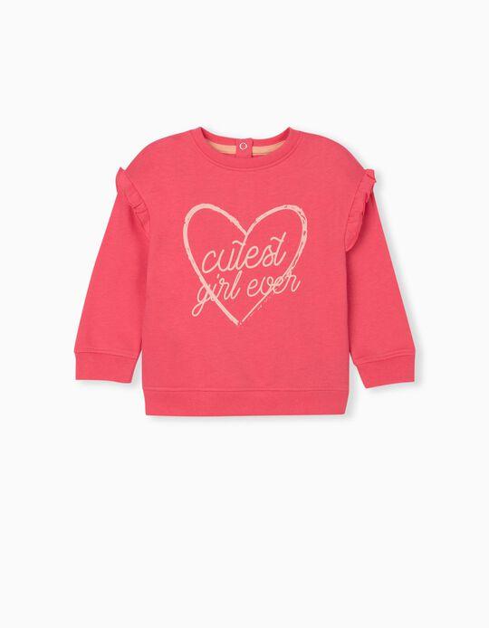 Sweatshirt with Ruffle, Baby Girls, Pink