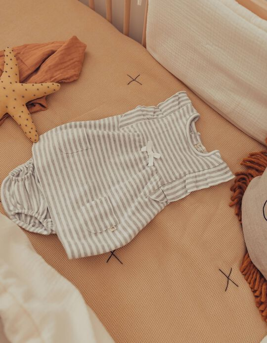 Organic Cotton Outfit for Newborn Baby Girls, Grey/White