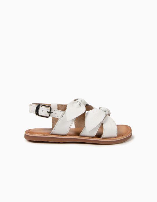 Sandálias de Pele para Bebé Menina com Laço, Dourado e Branco