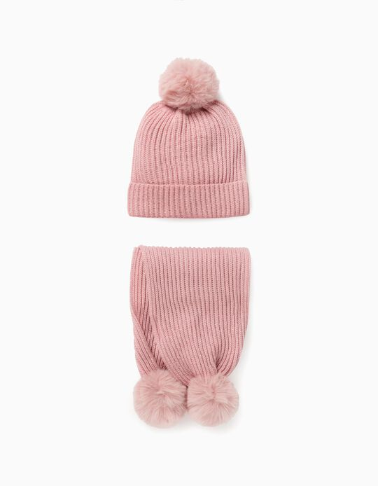 Scarf + Beanie for Girls, Pink