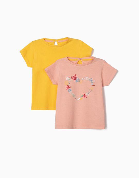 2 T-shirts de Algodão para Bebé Menina