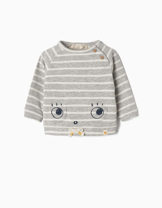 Sweatshirt for Newborn 'Cute Eyes', Grey and White