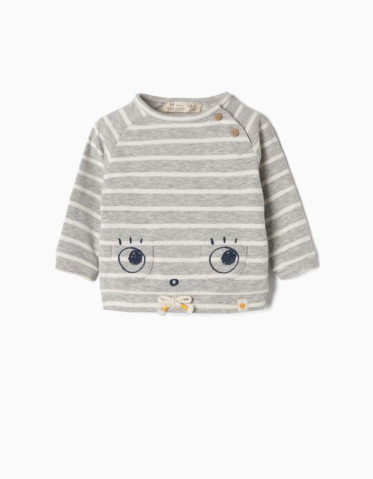 Sweatshirt para Recém-Nascido 'Cute Eyes', Cinza e Branco
