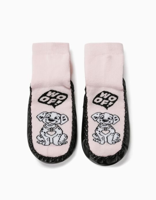 Non-slip Slipper Socks for Girls, '101 Dalmatians', Pink/Black