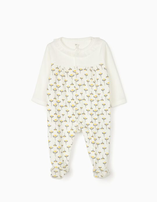 Velour Sleepsuit for Baby Girls 'Flowers', White