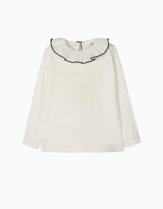 Long-sleeve Top with Ruffle for Girls, White