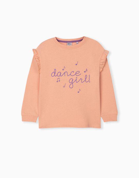 Sweatshirt with Ruffle, Girls, Salmon