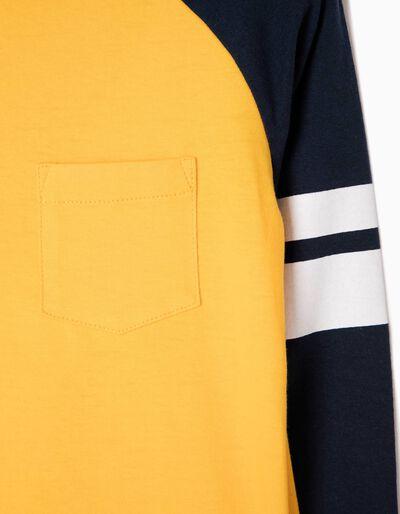 T-shirt Manga Comprida Amarela com Riscas