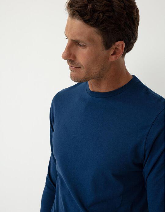 Long Sleeve Basic Top, Men, Dark Blue