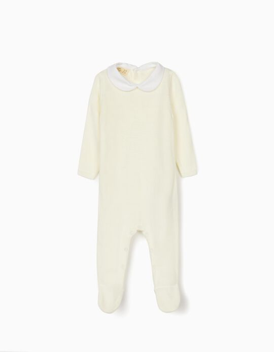 Knitted Babygrow for Newborn Baby Boys, White
