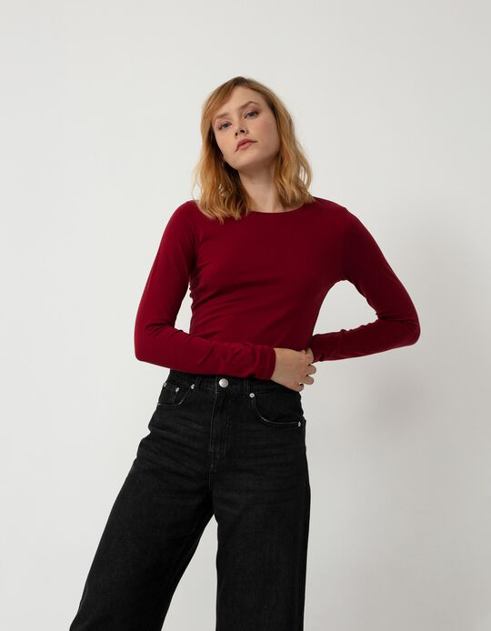 Basic Long Sleeve Top, Women, Red
