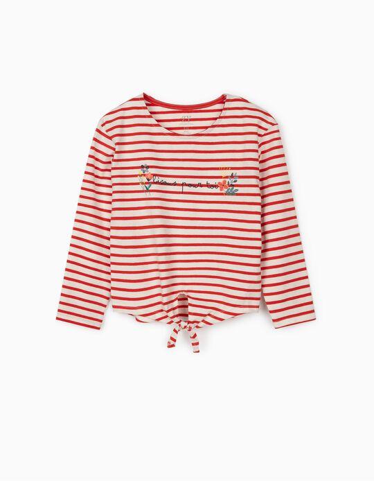 T-shirt Manga Comprida para Menina 'Bisous', Branco/Vermelho