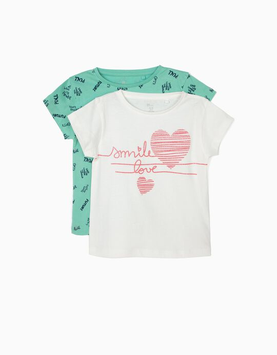 2 T-shirts para Menina 'Smile', Branco e Verde