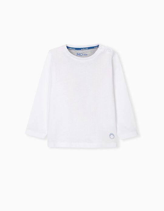 T-shirt Manga Comprida Bebé Menino, Branco