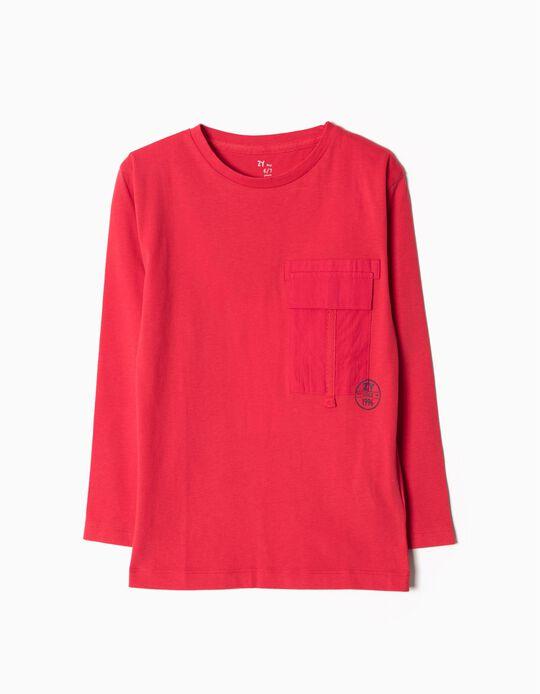 T-shirt Manga Comprida Vermelho