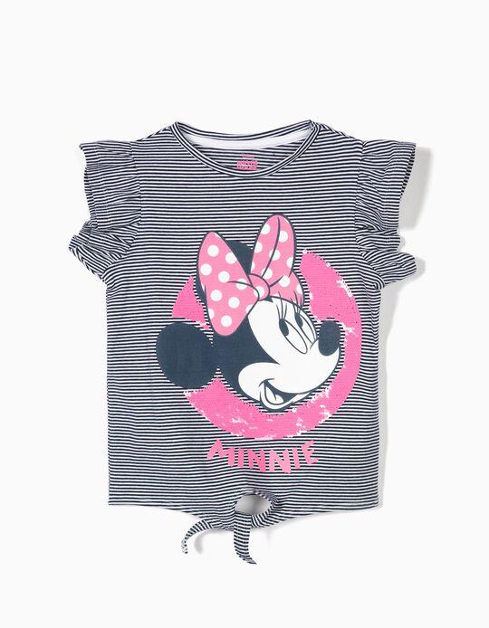 T-shirt para Menina 'Minnie' com Nó Frontal, Azul e Branco