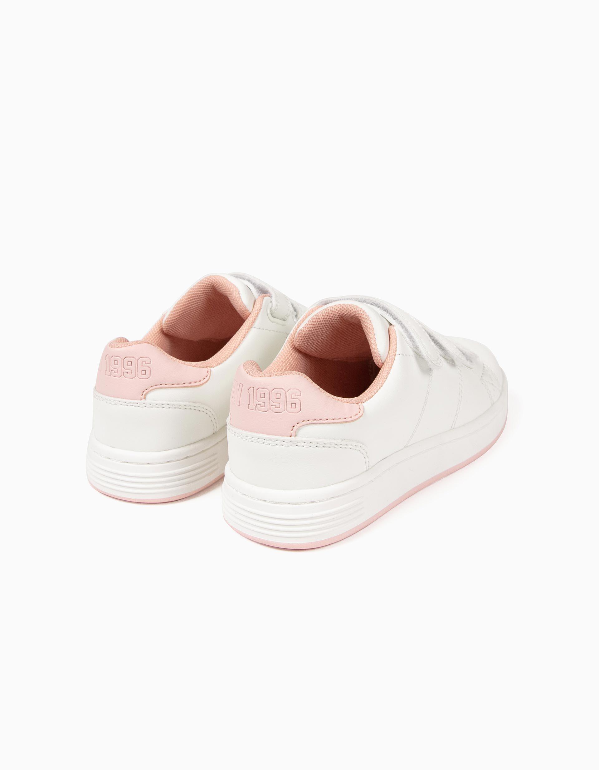 Sapatilhas para Bebé Menina 'ZY 1996' com Velcro, Rosa e Branco