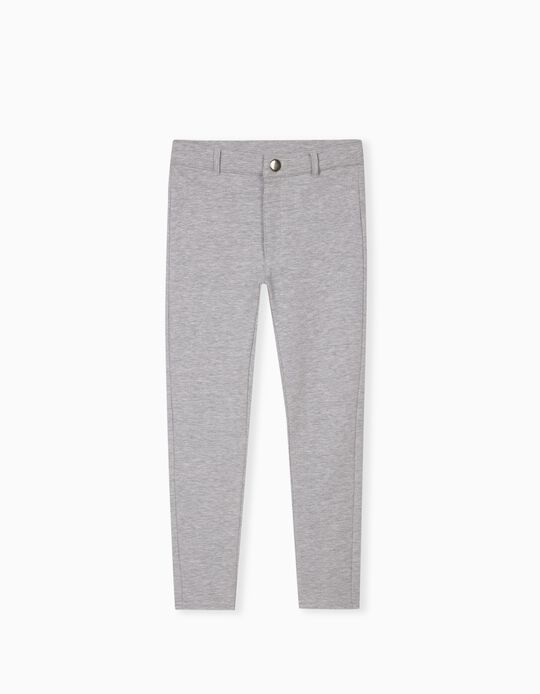 Knitted Trousers for Girls, Grey