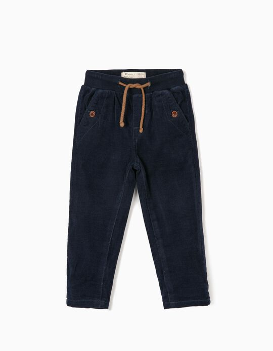 Corduroy Trousers for Baby Boys, Dark Blue