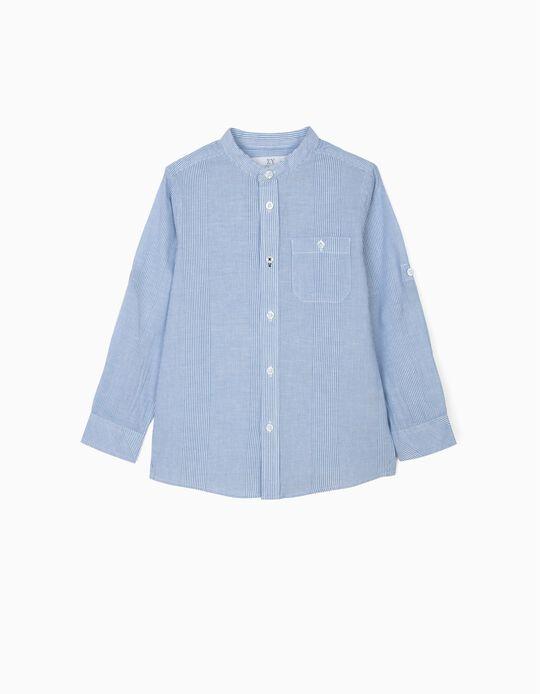 Shirt with Mao Collar for Boys, Blue