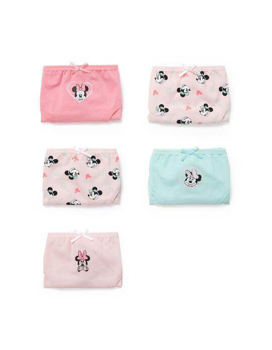 5 Briefs for Girls, 'Minnie', Pink/Green