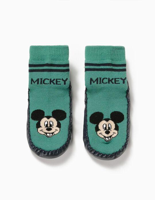 Meias-pantufa Antiderrapantes para Menino 'Mickey', Verde/Azul