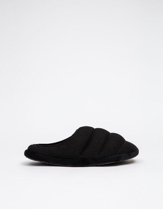 Padded Bedroom Slippers, Men, Black